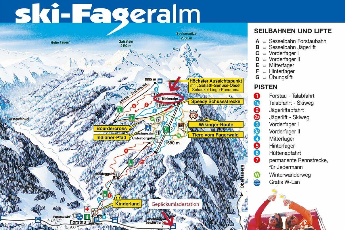 Lage, Pistenplan Fageralm, Ski amadé